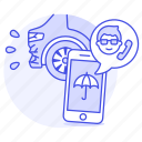 1, accident, agent, call, car, crash, insurance, male, phone, traffic, transportation icon