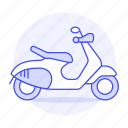 brown, land, light, motor, motorbike, motorcycle, road, scooter, transportation, vespa icon