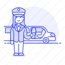 chauffeur, event, female, land, limousine, luxury, pickup, taxi, transportation, vehicle icon