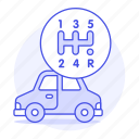 box, car, features, gear, manual, road, status, transportation icon