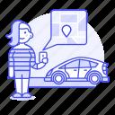 app, car, customer, driver, driving, female, phone, pickup, point, road, transportation, uber