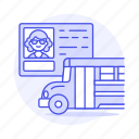 bus, commercial, driver, driving, female, license, permit, road, school, transportation icon