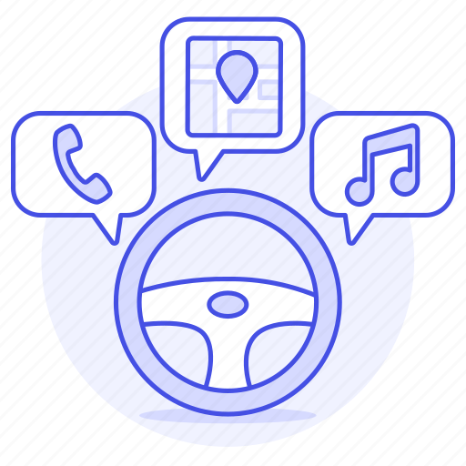 cars, driving, media, road, self, smart, steering, system, transportation, vehicle, wheel icon