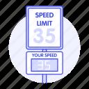 laws, limit, regulations, road, sensor, sign, speed, tickets, traffic, transportation icon