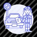 car, female, infraction, no, officer, parking, police, tickets, traffic, transportation