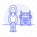 and, commercial, driver, female, motorist, transport, transportation, truck, trucker icon