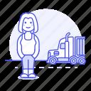 commercial, driver, female, full, motorist, on, road, transport, transportation, truck, trucker