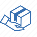 box, cargo, delivery, hand, package, shipping, transportation icon