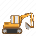 excavator, transportation, vehicle