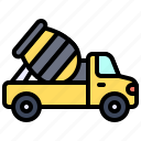 transport, vehicle, mixing, cement, truck