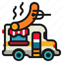delivery, food, hotdog, meat, sausage, shop, truck