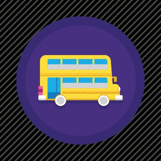 bus, double decker, school bus, transport, travel icon