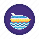 cruise, sea, ship, transport, travel icon