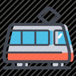city transport, public transport, tram, tramway, transportation icon