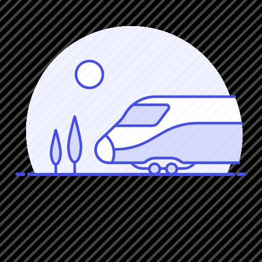 bullet, high, land, rail, railroad, railway, rain, speed, track, train, transport, transportation icon