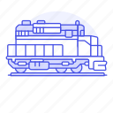 1, diesel, engine, railroad, railway, track, train, transport, transportation icon