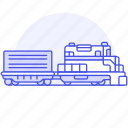 2, diesel, engine, railroad, railway, track, train, transport, transportation icon