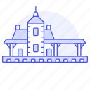1, building, depot, facility, railroad, railway, station, train, transport, transportation icon