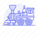 1, engine, land, railroad, railway, steam, track, train, transport, transportation icon