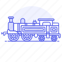 2, engine, land, railroad, railway, steam, track, train, transport, transportation icon