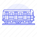carriage, land, railroad, railway, track, train, tram, transport, transportation, wagon icon