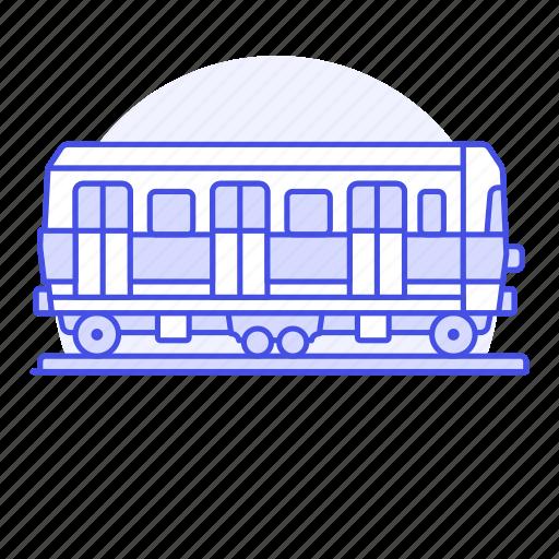 carriage, land, railroad, railway, track, train, tram, transport, transportation, wagon icon