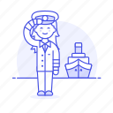 2, captain, female, ferry, fluvial, maritime, ship, transportation, vessel, waterborne, watercraft icon