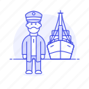 captain, haddock, headdock, marine, maritime, ship, transportation, vessel, waterborne, watercraft icon