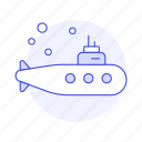 maritime, other, sea, submarine, transportation, underwater, watercraft, yellow icon