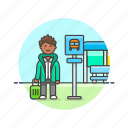 bus, man, road, stop, transportation, travel, wait icon