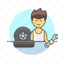 car, man, mechanic, road, spanner, tire, transportation, wheel icon