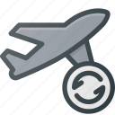 flight, plane, refresh, transport, transportation, vehicles icon