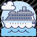 cruise, ship, boat, line icon