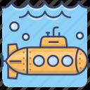 submarine, yellow, navy, warfare icon
