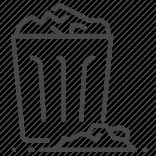 bin, dump, full, garbage, refuse, trash, waste icon