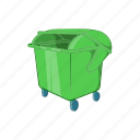 cartoon, container, dumpster, garbage, sign, trash, waste icon