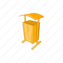 cartoon, dustbin, garbage, public, recycle, sign, spaces icon