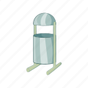 can, cartoon, container, legs, sign, trash, waste icon