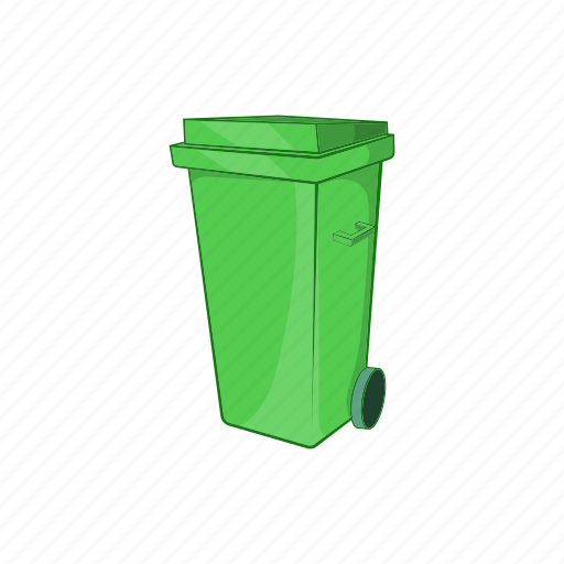 can, cartoon, container, sign, trash, waste, wheels icon