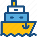 vessel, water transport, ship, boat, cruise icon