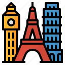 bigben, eiffel, landmark, pisa, tower, travel icon
