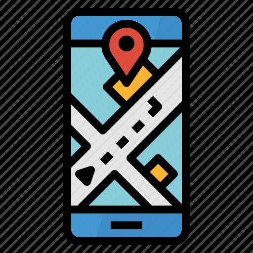 app, destination, location, map, navigation icon