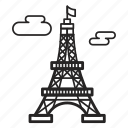 building, construction, eiffel, france, paris, real, tower icon