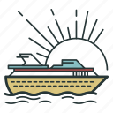 cruise, ocean, sea, ship, transport, transportation, voyage icon