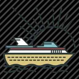 cruise, ocean, sea, ship, transport, transportation, voyage icon