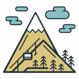 cloud, mountains, resort, ski, snow, tree, weather icon