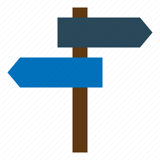 Signpost, direction, arrows, location, guidepost icon