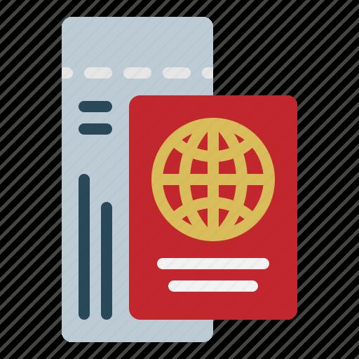 identification, passport, plane, vacation icon