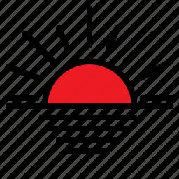 forecast, sunset, weather icon