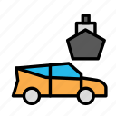 boat, car, sea, travel, trip icon
